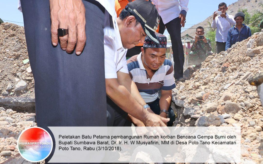 Bupati Letakkan Batu Pertama Rumah Korban Gempa