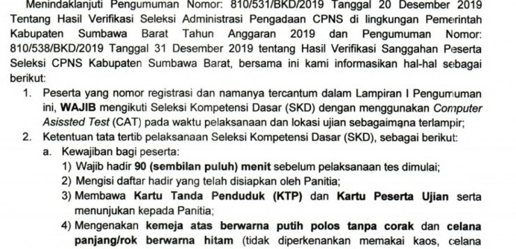 Jadwal dan Tatib SKD Seleksi CPNS KSB Tahun 2020